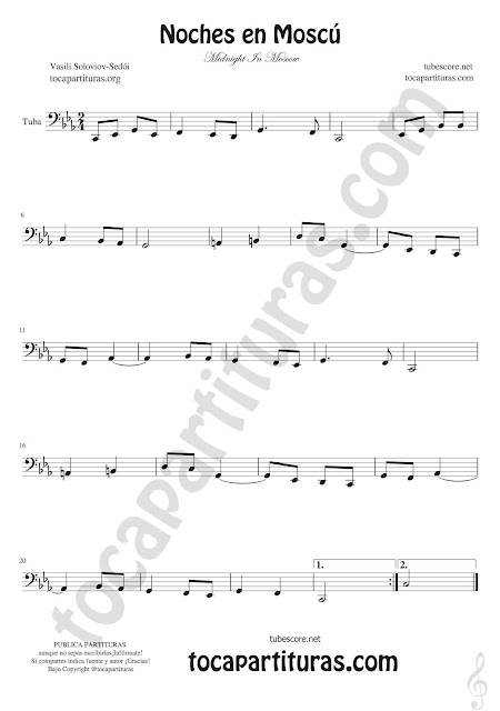 Tuba Partitura de Noches en Moscú (tuba en 8ª baja) Sheet Music for tuba Midnight In Moscow