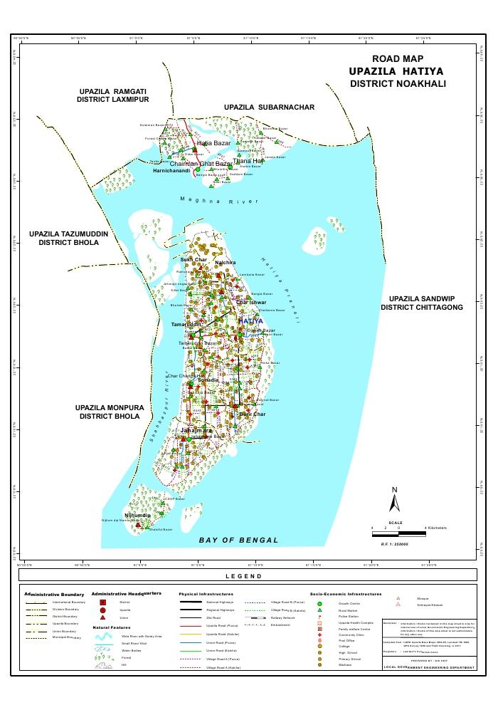 Hatiya Upazila Road Map Noakhali District Bangladesh