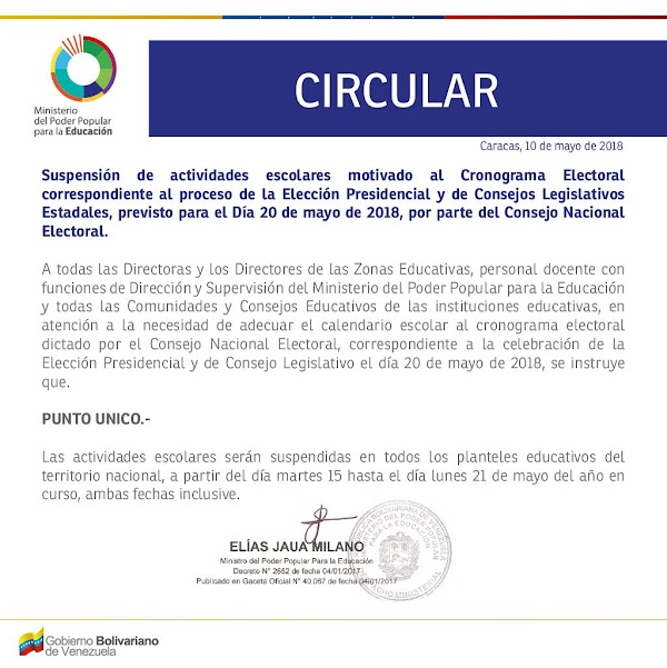 IMPORTANTE | El MPPEDUCACION informa suspensión de actividades escolares para cumplir el cronograma electoral correspondiente a la elección presidencial del #20May (+CIRCULAR)