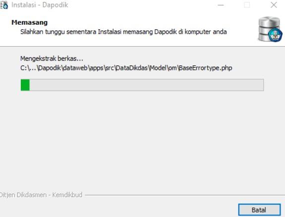 Proses instalasi dapodik versi 2016