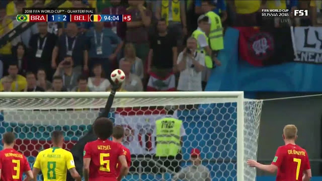 Incredible save by Courtois to stop Neymar (Video) - Russia 2018 World Cup quarter final