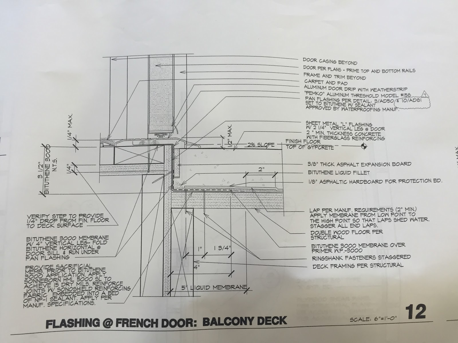 Waterproofing Detail For Deck Shows Grace 3000 Bituthene Membrane But The Drawing FAILS To Include Grace & Waterproofing Door Jambs \u0026 Pezcame.Com