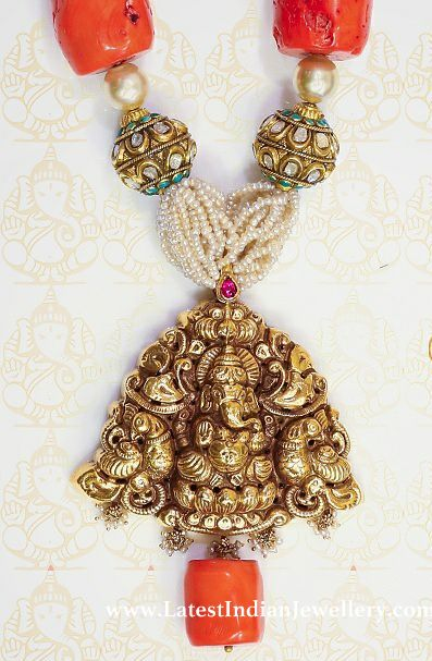 Ganesh Pendant with Large Corals