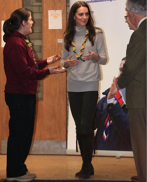 Kate Middleton wore IRIS AND INK Grace Cashmere Sweater, Really Wild Spanish Boots in Chocolate Suede,Cubs100 Official Adult Scarf