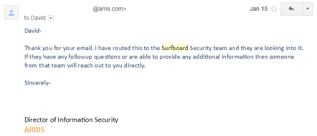 January 15: ARRIS acknowledged receipt of the vulnerability report.