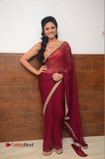 Television Anchor Srimukhi Pictures in Red Saree at Pelli Choopulu Audio Launch  0051.JPG
