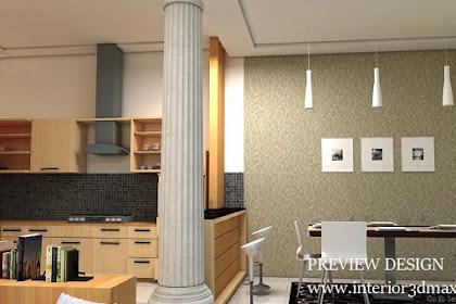 Jasa gambar online desain dapur kulkas microwave pantry minibar