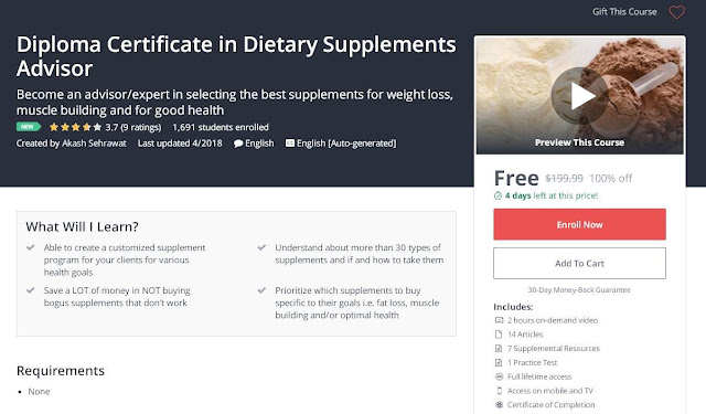 Diploma Certificate in Dietary Supplements Advisor