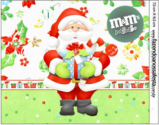 Etiqueta M&M de Santa en Fondo Verde para imprimir gratis.
