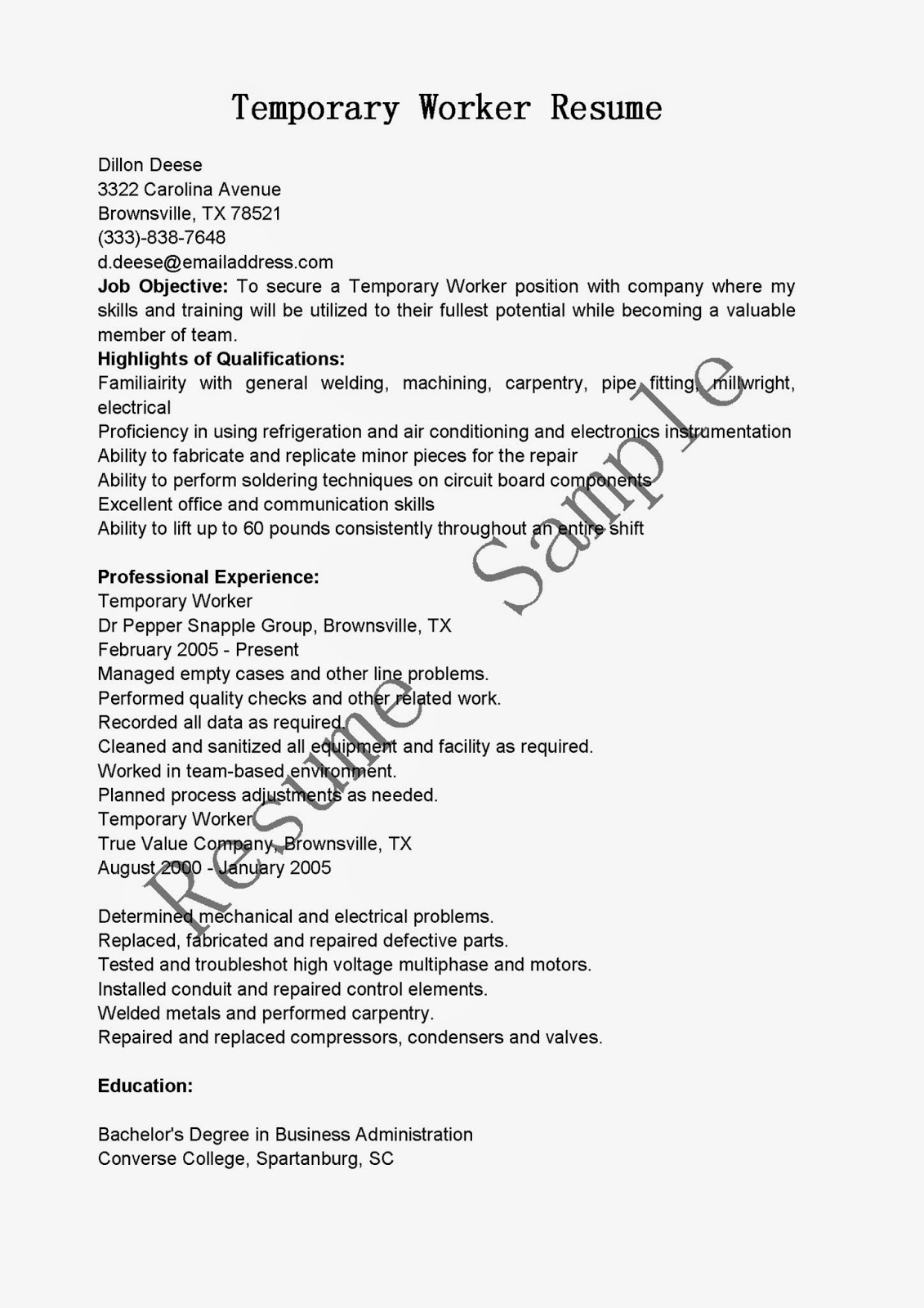 Resume Samples Temporary Worker Resume Sample