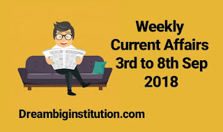 Weekly Current Affairs With Top 10 Headlines - 3rd sep to 8th sep 2018