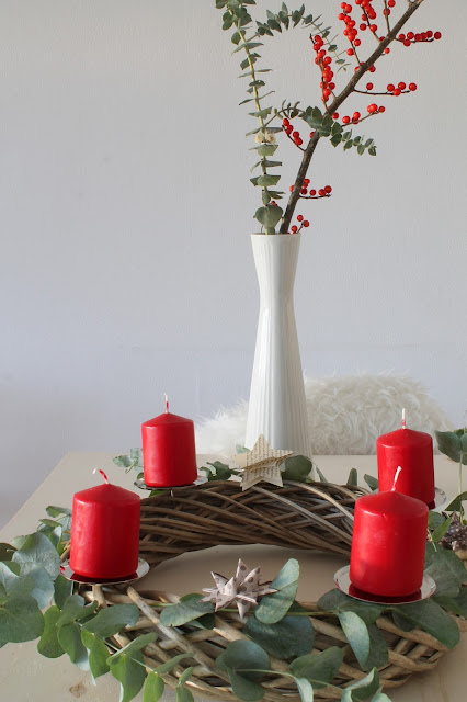 Adventskranz Beton selbermachen Weidenkranz DIY Merry and be vorglitzern Advent