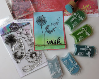 Quick Quotes Serenade Papers and PowderPuff Chalk Inks with Joy Clair Stamps Card designed by June Swart