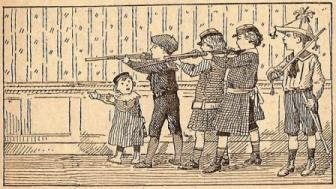 """""""Lecture expliquée"""" Victor Bouillot, 1910. Illustration """"Enfants jouant à la guerre"""""""