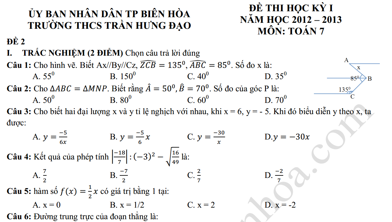 Đề thi học kỳ 1 môn toán 7 trường Trần Hưng Đạo - Biên Hòa - Đồng Nai