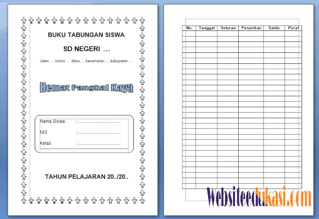 Format Buku Tabungan Siswa SD/MI Terbaru