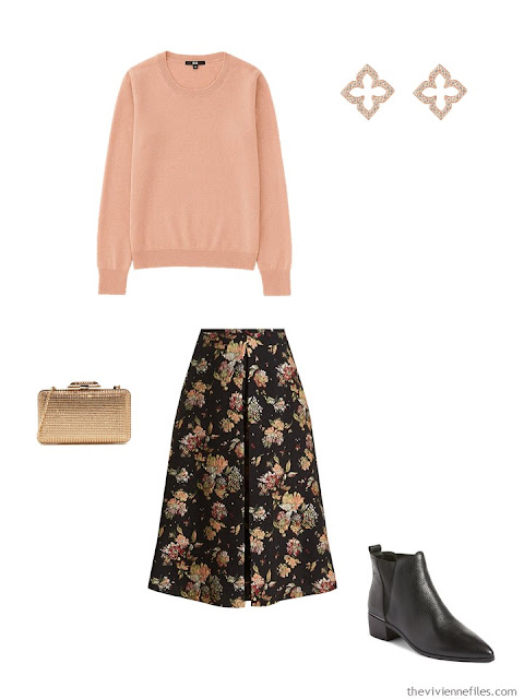 apricot cashmere crewneck sweater with black brocade floral skirt