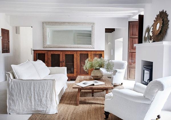 sofa con funda de algodon rustico en blanco