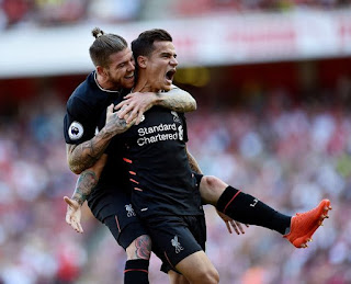 Phillipe Coutinho celebrate goal, Arsenal 3-4 Liverpool 2016