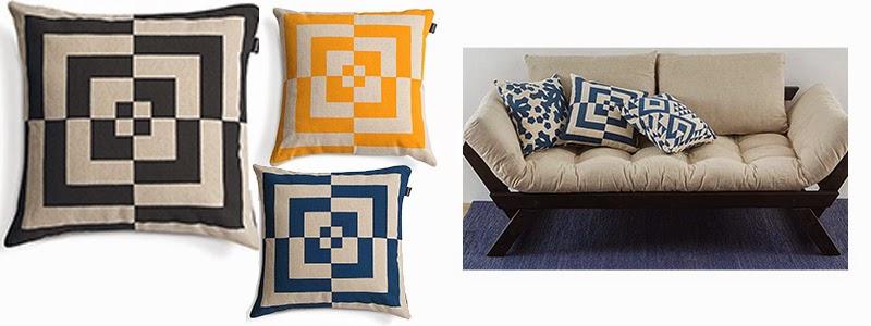 Almofadas com desenhos geométricos