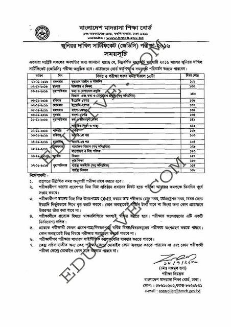 JDC Examination Routine 2016