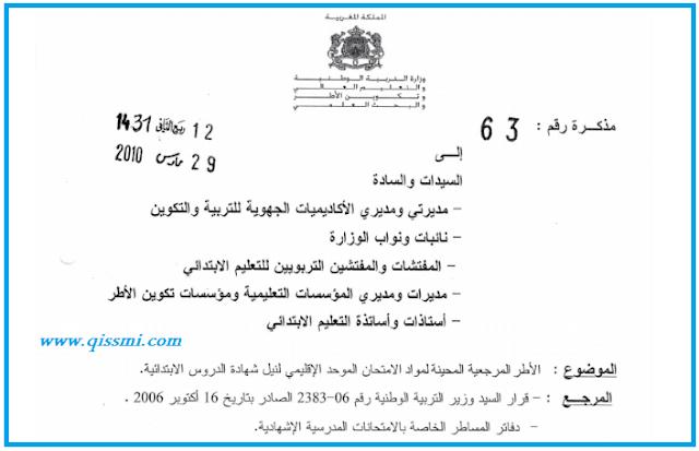 الإطار المرجعي للامتحان الإقليمي مادة اللغة العربية للمستوى السادس ابتدائي