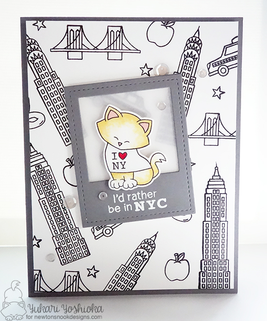 New York City Card with Cat by Danielle Pandeline | Newton Dreams of New York Stamp and Die Set by Newton's Nook Designs #newtonsnook #newyork