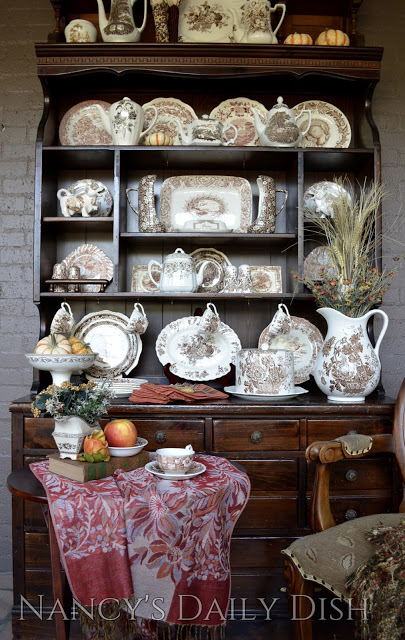 Autumn Hutch with Brown Transferware
