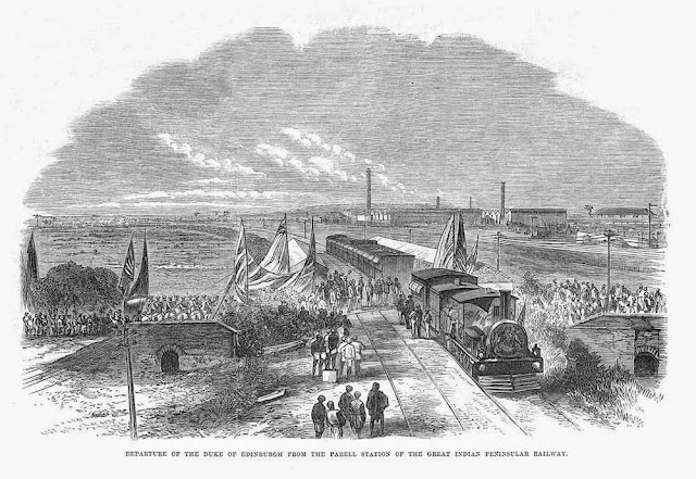 transpress nz: The Duke of Edinburgh gets on a train at Parel, India, 1870