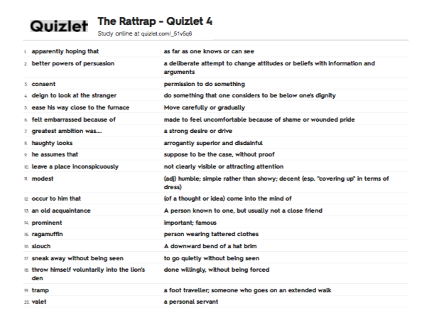 Class XII The Rattrap - Vocabulary Quizlet 4