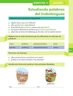 Apoyo Primaria Español 1er grado Bimestre 4 lección 6 Estudiando palabras del trabalenguas
