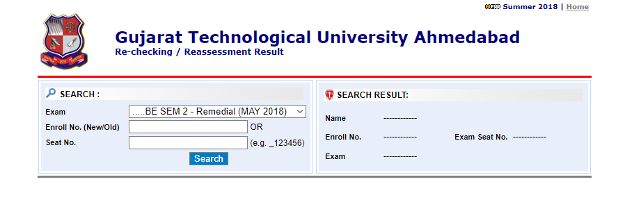 Gujarat Technological University BE Remedial 2ND Sem May 2018 Exam Results