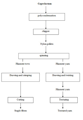 Process flow sheets: Manufacturing process of nylon fibers