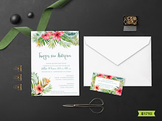 exotic flowers wedding invitations