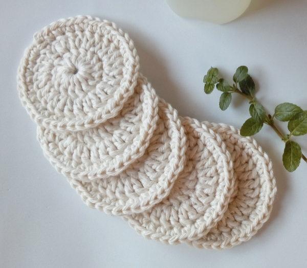 Discos de crochê limpeza facial algodão cru natural vestimentarte