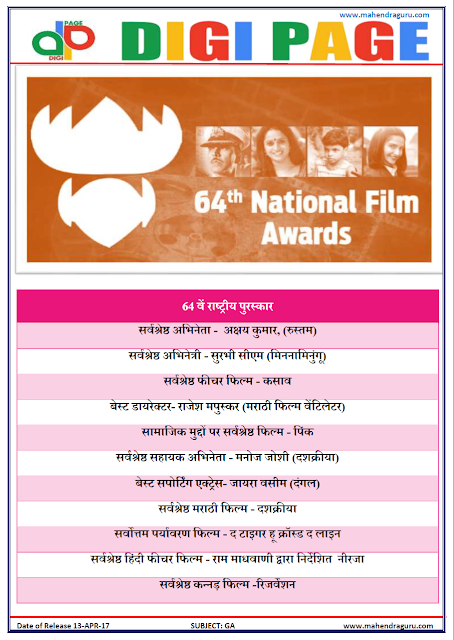 DP | NATIONAL FILM AWARDS | 13 - APR - 17 | IMPORTANT FOR SBI PO