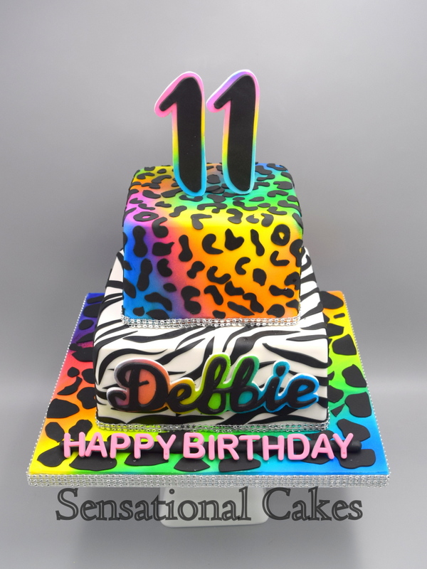 Excellent The Sensational Cakes Rainbow Animal Print Three Tier Birthday Funny Birthday Cards Online Elaedamsfinfo
