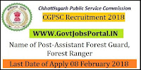 Chhattisgarh Public Service Commission Recruitment 2018 – 358 Assistant Forest Guard, Forest Ranger