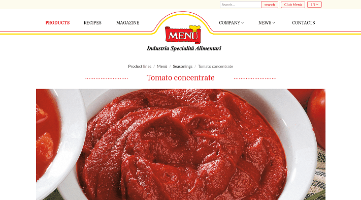 Picture to Italian food exporter company named Menu Srl