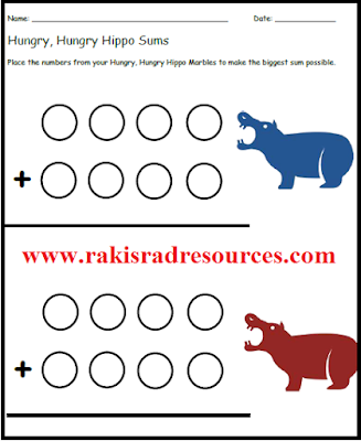 Free addition center sheet with the game hungry, hungry hippos - ideas and sheet from Raki's Rad Resources.