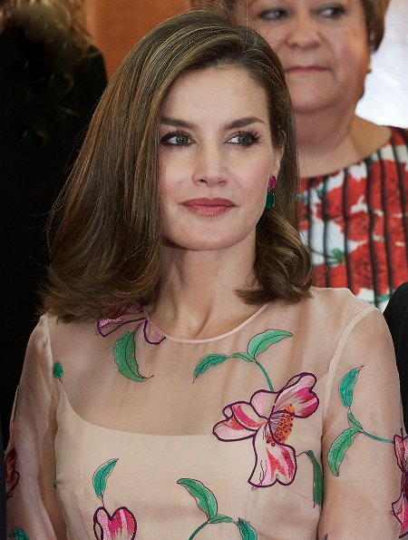 TOUS Ruby and Emerald Earrings, Queen Letizia wore Carolina Herrera Floral Embroidered Organza Dress