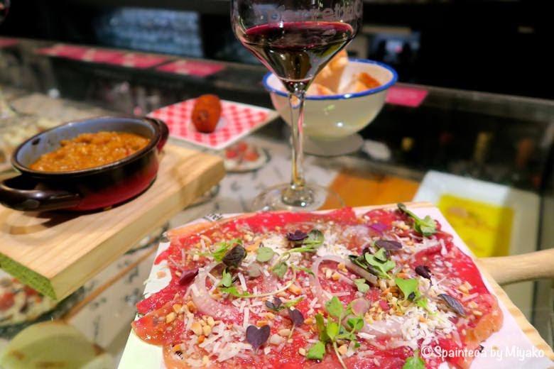 PERRETXICO バスク地方ビトリアのカルパッチョとイディアサバルチーズ添えのタパス