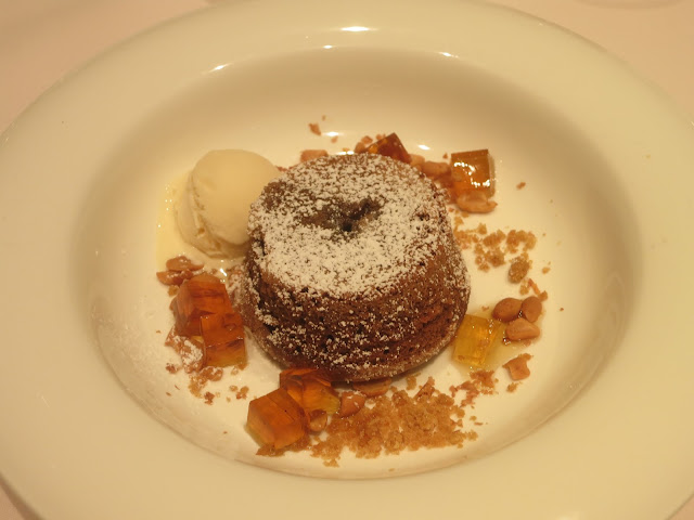 Baked Lava Cake with Gula Melaka and Coconut Ice Cream