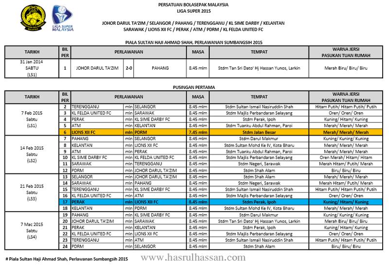 Jadual Perlawanan Liga Super Malaysia 2015