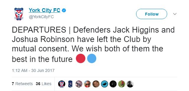 Josh Robinson left York City by mutual consent