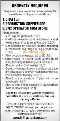 Lowongan Kerja PT. Singapore Metal Works Company