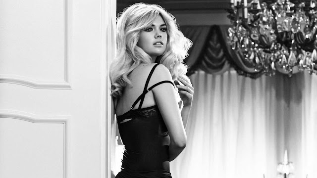 Beautiful Black & White Kate Upton Wallpaper