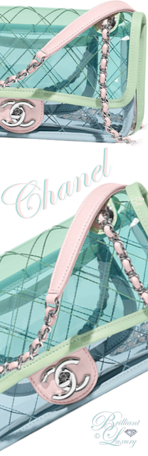 Brilliant Luxury ♦ Chanel flap bag pvc silver tone metall in turquoise