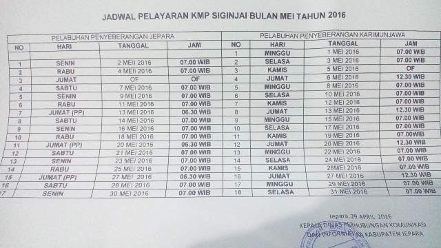 jadwal kapal feri siginjai jepara karimunjawa mei 2016