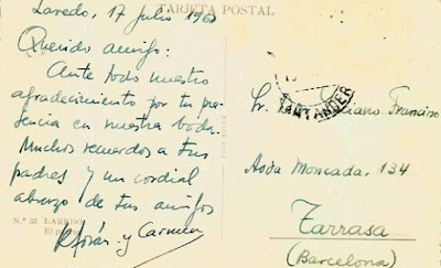 Reverso de la postal enviada por Torán a Francino, Laredo 1960